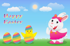 Happy Easter with bunny chick and egg Stock Photos