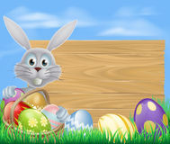 Happy Easter bunny and chocolate eggs sign Royalty Free Stock Photo