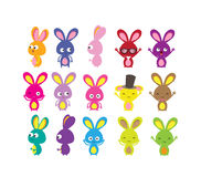 Happy Easter bunny colorful set Stock Image