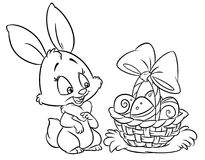 Happy Easter  bunny  coloring pages  cartoon illustration Royalty Free Stock Images