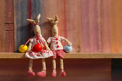 Happy Easter Bunny Couple With Eggs Background Stock Photo