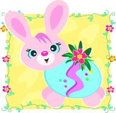 Happy Easter Bunny in Decorated Egg Stock Photography