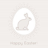 Happy easter bunny and easter egg. Vector card design. Stock Photography