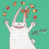 Happy Easter bunny and Easter eggs Royalty Free Stock Photo