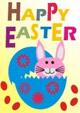 Happy Easter Bunny in Egg Stock Photo