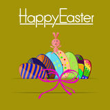 Happy easter bunny egg card Vector Paper design Stock Photography