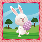 Happy easter bunny egg decorative pink frame Royalty Free Stock Image