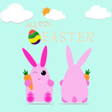 Happy easter bunny egg vector design celebrate card Stock Image