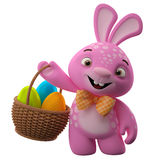 Happy Easter bunny with eggs in basket. Happy Easter, amazing 3D easter bunny, merry cartoon rabbit, animal character with easter eggs in wicker basket Stock Image