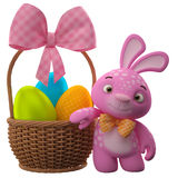 Happy Easter bunny with eggs in basket. Happy Easter, amazing 3D easter bunny, merry cartoon rabbit, animal character with easter eggs in wicker basket Stock Images