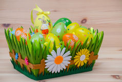 Happy easter bunny with eggs in a basket and Royalty Free Stock Image