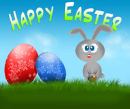 Happy Easter bunny and eggs card Royalty Free Stock Photo