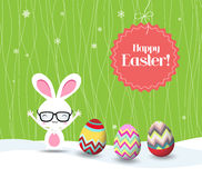 Happy easter with bunny and eggs greeting card Stock Photos