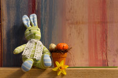 Happy Easter Bunny With Eggs Painted background Royalty Free Stock Photography
