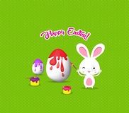 Happy easter with bunny eggs painting colorful Royalty Free Stock Image