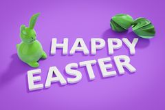 Happy easter bunny figure and text. 3d illustration of a happy easter bunny figure and text Royalty Free Stock Photography