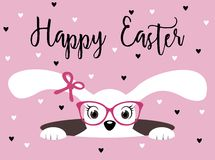 Happy Easter bunny girl with glasses. On pink background with hearts Stock Photos