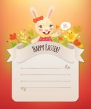 Happy Easter Bunny Girl Greeting Card. Royalty Free Stock Images