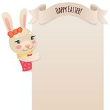 Happy Easter Bunny Girl Looking at Blank Poster Royalty Free Stock Images
