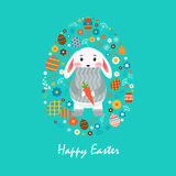 Happy Easter bunny in gray sweater with carrot, colored Easter eggs, spring decoration, leaves, flowers flat style Stock Photo