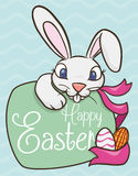 Happy Easter Bunny with Greeting Sign for Easter Date, Vector Illustration Royalty Free Stock Images