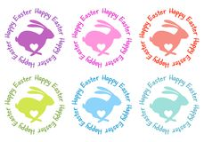 Happy Easter, bunny with heart, vector set Stock Photos