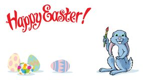 Happy Easter Bunny isolated with colorful painted eggs royalty free stock photography