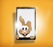 Happy Easter Bunny Mobile Phone. Graphic illustration Royalty Free Stock Photos