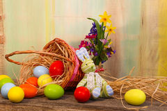 Happy Easter Bunny Painted Eggs Wicker Basket Stock Images