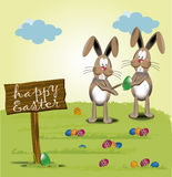 Happy Easter,Bunny painting Royalty Free Stock Photography