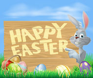 Happy Easter bunny pointing Royalty Free Stock Image