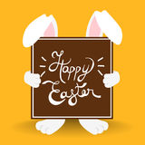 Happy Easter bunny quote for holiday card Royalty Free Stock Images