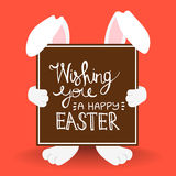 Happy Easter bunny quote for holiday card Stock Images