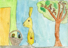 Happy Easter bunny rabbit bring gifts to children. Aquarelle drawing of a six years old child where a Easter bunny rabbit bring gifts eggs to children Royalty Free Stock Image
