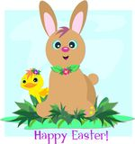 Happy Easter Bunny Rabbit and Duck Royalty Free Stock Images
