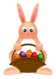 Happy Easter Bunny Rabbit  with Egg Basket Stock Images