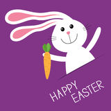Happy Easter. Bunny rabbit hare carrot in the pocket. Baby greeting card. Violet background. Flat design. Stock Photo