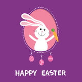 Happy Easter. Bunny rabbit hare holding carrot inside frame window. Dash line contour. Hanging painted egg set. Cute cartoon chara Stock Image