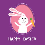 Happy Easter. Bunny rabbit hare holding carrot inside painted egg frame window. Dash line contour. Cute cartoon character. Baby gr. Eeting card. Violet Royalty Free Stock Images