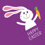 Happy Easter. Bunny rabbit hare holding carrot Paper pocket. Baby greeting card. Violet background. Flat design. Royalty Free Stock Images