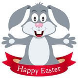 Happy Easter Bunny Rabbit with Ribbon Stock Photo