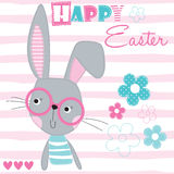 Happy easter bunny rabbit vector illustration Stock Images