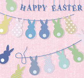 Happy Easter bunny rabbits handmade card Stock Photos