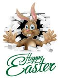 Happy Easter Bunny Sign. Happy Easter sign with bunny rabbit cartoon character breaking through the background and waving Stock Image