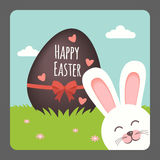 Happy Easter with bunny smiling and chocolate egg. Illustration Royalty Free Stock Image