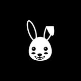Happy Easter bunny solid icon, religion holiday. Elements, rabbit sign, a filled pattern on a black background, eps 10 stock illustration