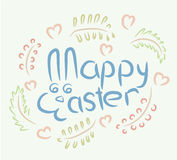 Happy Easter Bunny spring symbolic inscription  Royalty Free Stock Photography