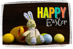 Happy Easter Bunny Toy Basket Painted Eggs Royalty Free Stock Photo