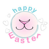 Happy Easter Bunny. Vector Greeting Card with rabbit cute nose and smile Royalty Free Stock Photo