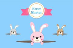 Happy Easter Bunny Vector Vector Illustration Blue Background Stock Photo